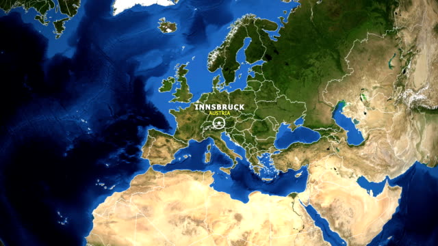 地球地図のズームイン オーストリア インスブルック - チロル州点の映像素材/bロール
