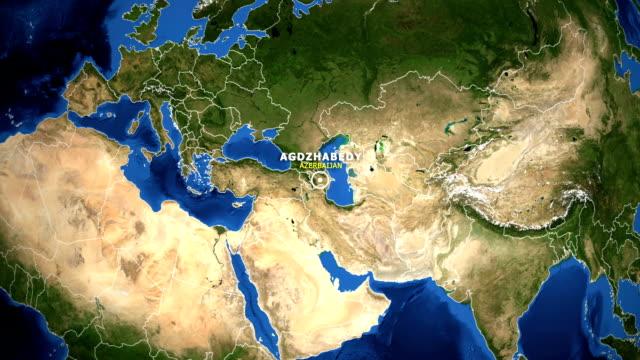 EARTH ZOOM IN MAP - AZERBAIJAN AGDZHABEDY AZERBAIJAN AGDZHABEDY - ZOOM IN FROM SPACE equator line stock videos & royalty-free footage