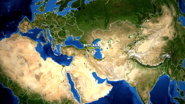 EARTH ZOOM IN MAP - AZERBAIJAN BEYLAGAN AZERBAIJAN BEYLAGAN - ZOOM IN FROM SPACE equator line stock videos & royalty-free footage