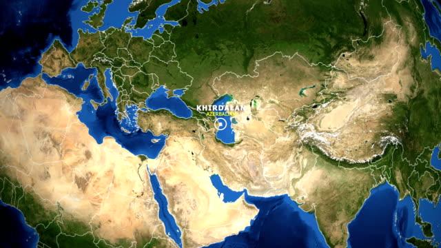 EARTH ZOOM IN MAP - AZERBAIJAN KHIRDALAN AZERBAIJAN KHIRDALAN - ZOOM IN FROM SPACE equator line stock videos & royalty-free footage
