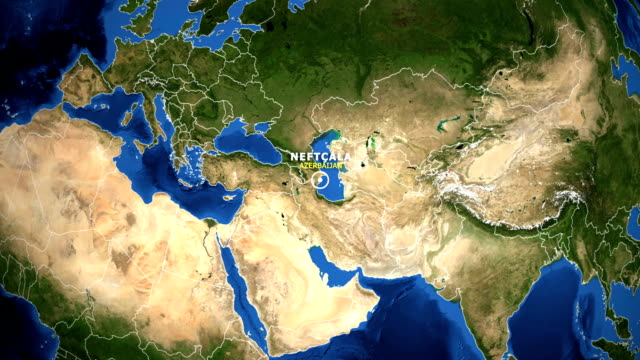EARTH ZOOM IN MAP - AZERBAIJAN NEFTCALA AZERBAIJAN NEFTCALA - ZOOM IN FROM SPACE equator line stock videos & royalty-free footage