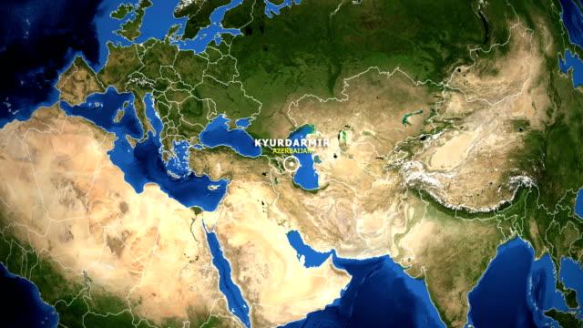 EARTH ZOOM IN MAP - AZERBAIJAN KYURDARMIR AZERBAIJAN KYURDARMIR - ZOOM IN FROM SPACE equator line stock videos & royalty-free footage