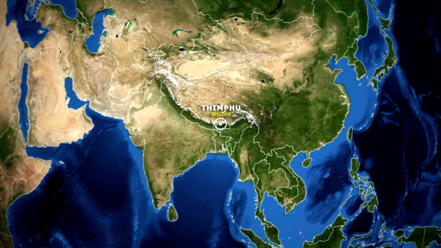 EARTH ZOOM IN MAP - BHUTAN THIMPHU BHUTAN THIMPHU - ZOOM IN FROM SPACE equator line stock videos & royalty-free footage