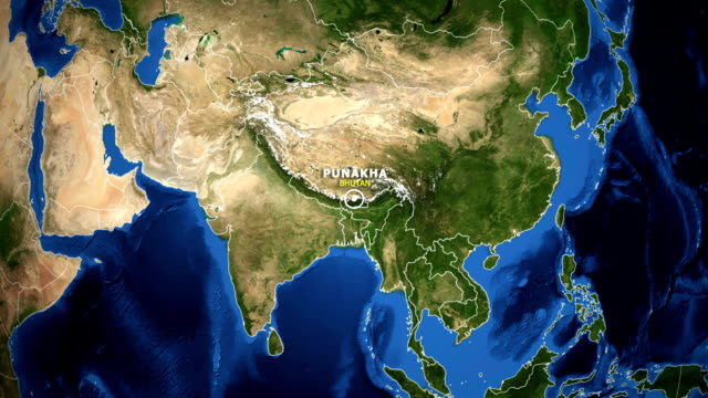 EARTH ZOOM IN MAP - BHUTAN TSIRANG BHUTAN TSIRANG - ZOOM IN FROM SPACE equator line stock videos & royalty-free footage