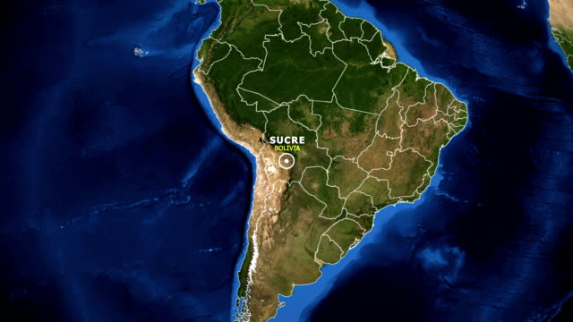 EARTH ZOOM IN MAP - BOLIVIA SUCRE BOLIVIA SUCRE - ZOOM IN FROM SPACE equator line stock videos & royalty-free footage