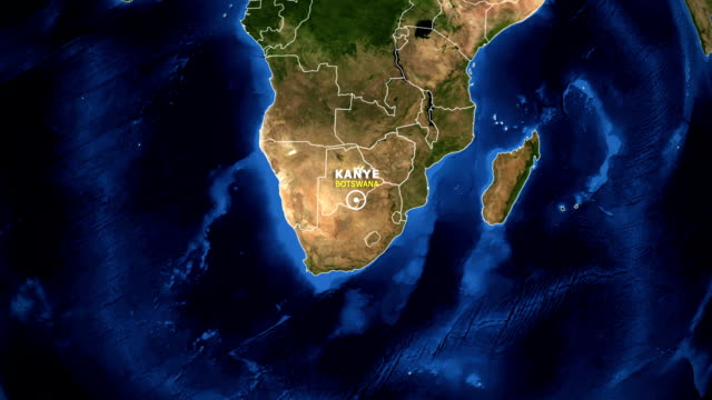 EARTH ZOOM IN MAP - BOTSWANA KANYE BOTSWANA KANYE - ZOOM IN FROM SPACE kanye west stock videos & royalty-free footage
