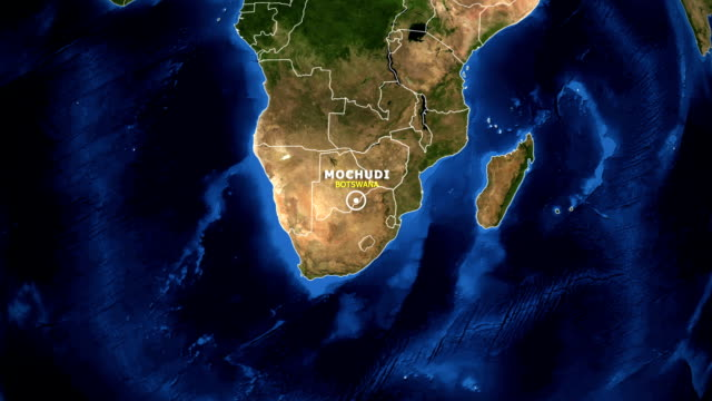 EARTH ZOOM IN MAP - BOTSWANA MOCHUDI BOTSWANA MOCHUDI - ZOOM IN FROM SPACE botswana stock videos & royalty-free footage