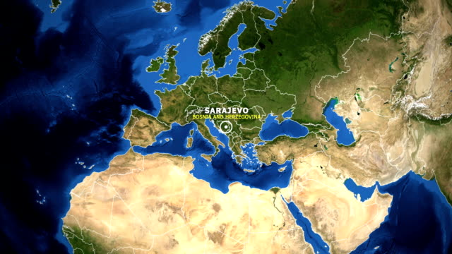 EARTH ZOOM IN MAP - BOSNIA AND HERZEGOVINA SARAJEVO BOSNIA AND HERZEGOVINA SARAJEVO - ZOOM IN FROM SPACE equator line stock videos & royalty-free footage