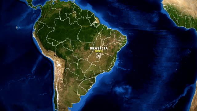 vídeos de stock, filmes e b-roll de terra de zoom no mapa - brasil brasília - brazil map