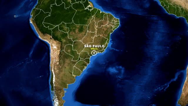 vídeos de stock, filmes e b-roll de terra de zoom no mapa - brasil são paulo - brazil map