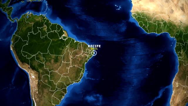 vídeos de stock, filmes e b-roll de terra de zoom no mapa - recife brasil - brazil map
