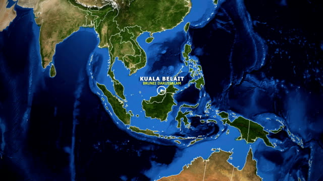 EARTH ZOOM IN MAP - BRUNEI DARUSSALAM KUALA BELAIT BRUNEI DARUSSALAM KUALA BELAIT - ZOOM IN FROM SPACE equator line stock videos & royalty-free footage