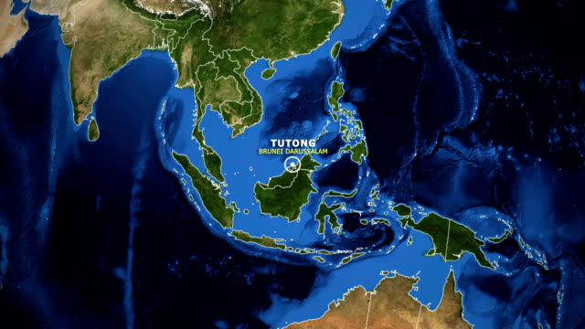 EARTH ZOOM IN MAP - BRUNEI DARUSSALAM TUTONG BRUNEI DARUSSALAM TUTONG - ZOOM IN FROM SPACE equator line stock videos & royalty-free footage