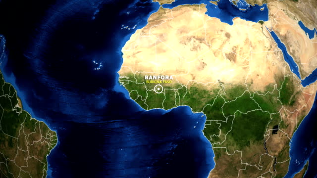 EARTH ZOOM IN MAP - BURKINA FASO BANFORA BURKINA FASO BANFORA - ZOOM IN FROM SPACE equator line stock videos & royalty-free footage
