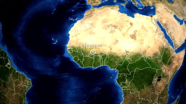 EARTH ZOOM IN MAP - BURKINA FASO DEDOUGOU BURKINA FASO DEDOUGOU - ZOOM IN FROM SPACE equator line stock videos & royalty-free footage
