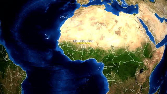 EARTH ZOOM IN MAP - BURKINA FASO KOUDOUGOU BURKINA FASO KOUDOUGOU - ZOOM IN FROM SPACE equator line stock videos & royalty-free footage