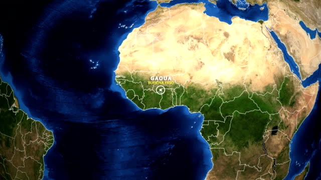 EARTH ZOOM IN MAP - BURKINA FASO GAOUA BURKINA FASO GAOUA - ZOOM IN FROM SPACE equator line stock videos & royalty-free footage
