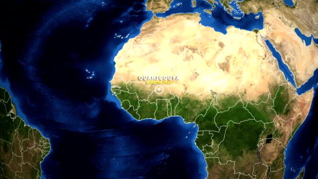 EARTH ZOOM IN MAP - BURKINA FASO OUAHIGOUYA BURKINA FASO OUAHIGOUYA - ZOOM IN FROM SPACE equator line stock videos & royalty-free footage