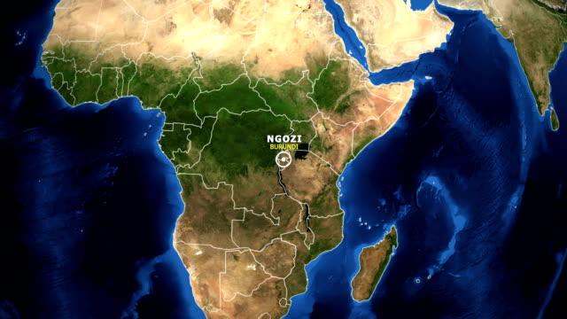 EARTH ZOOM IN MAP - BURUNDI NGOZI BURUNDI NGOZI - ZOOM IN FROM SPACE equator line stock videos & royalty-free footage