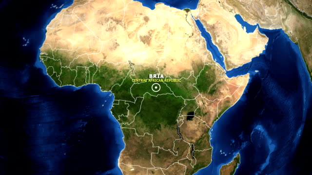 EARTH ZOOM IN MAP - CENTRAL AFRICAN REPUBLIC BRIA CENTRAL AFRICAN REPUBLIC BRIA - ZOOM IN FROM SPACE equator line stock videos & royalty-free footage