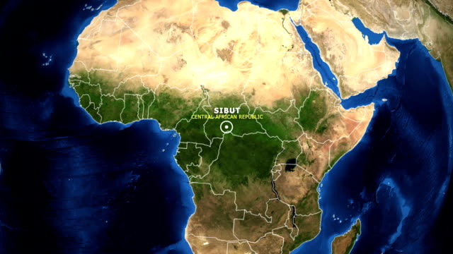 EARTH ZOOM IN MAP - CENTRAL AFRICAN REPUBLIC SIBUT CENTRAL AFRICAN REPUBLIC SIBUT - ZOOM IN FROM SPACE equator line stock videos & royalty-free footage