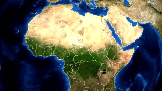 EARTH ZOOM IN MAP - CHAD ATI CHAD ATI - ZOOM IN FROM SPACE equator line stock videos & royalty-free footage