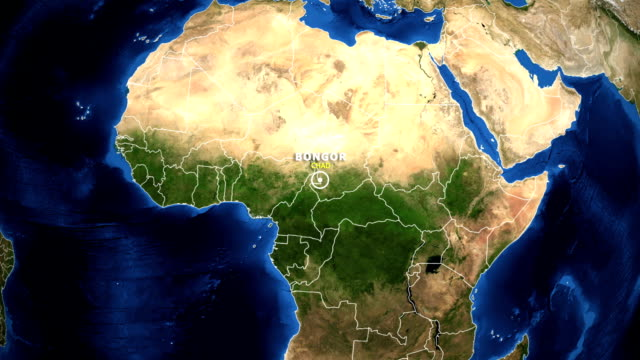 EARTH ZOOM IN MAP - CHAD BONGOR CHAD BONGOR - ZOOM IN FROM SPACE equator line stock videos & royalty-free footage