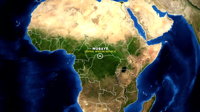 EARTH ZOOM IN MAP - CENTRAL AFRICAN REPUBLIC MOBAYE CENTRAL AFRICAN REPUBLIC MOBAYE - ZOOM IN FROM SPACE equator line stock videos & royalty-free footage