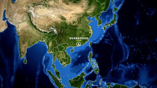 地球拡大地図 - 中国広州 - 中国 広州市点の映像素材/bロール