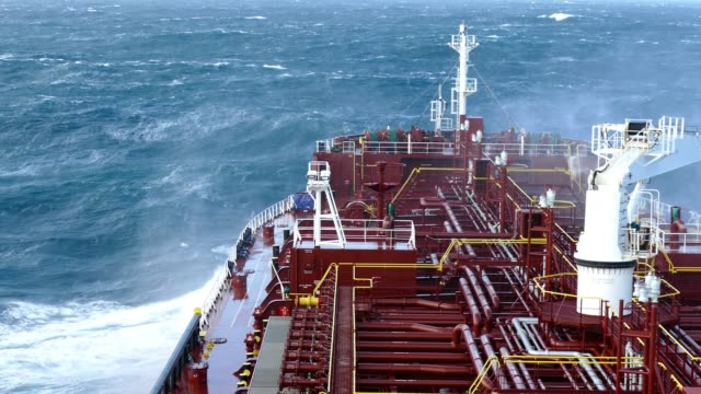 STORM Tanker sailing during huge storm weather. industrial ship stock videos & royalty-free footage