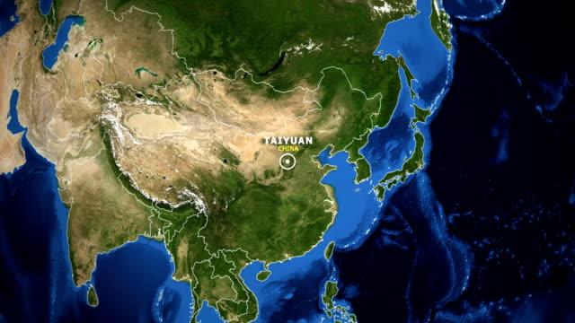 jorden zooma i kartan - kina taiyuan - ekvatorn latitud bildbanksvideor och videomaterial från bakom kulisserna