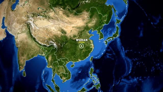 vídeos y material grabado en eventos de stock de tierra ampliar mapa - wuhan de china - wuhan