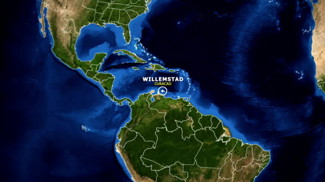 EARTH ZOOM IN MAP - CURACAO WILLEMSTAD CURACAO WILLEMSTAD ZOOM IN FROM SPACE curaçao stock videos & royalty-free footage