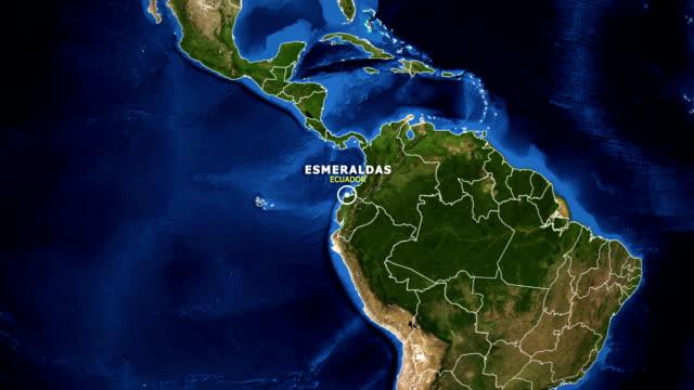 vídeos de stock, filmes e b-roll de terra de zoom no mapa - equador esmeraldas - equador latitude