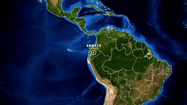 vídeos de stock, filmes e b-roll de terra de zoom no mapa - equador ambato - equador latitude
