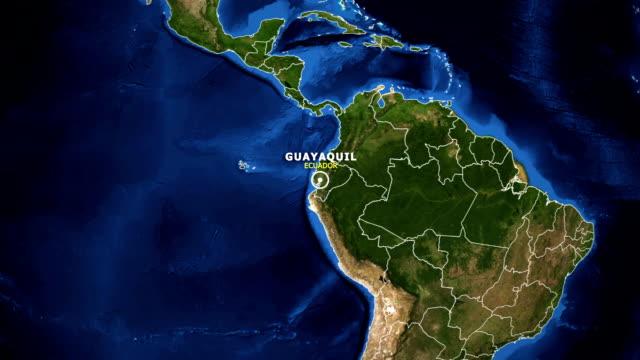 vídeos de stock, filmes e b-roll de terra de zoom no mapa - equador-guayaquil - equador latitude