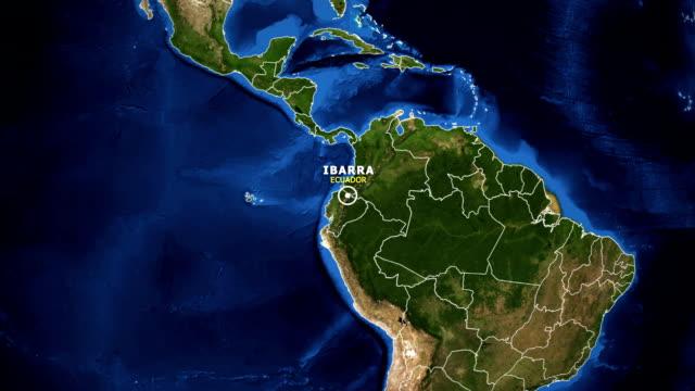 vídeos de stock, filmes e b-roll de terra de zoom no mapa - equador ibarra - equador latitude