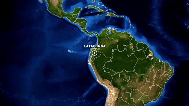 vídeos de stock, filmes e b-roll de terra de zoom no mapa - equador latacunga - equador latitude