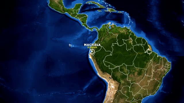 vídeos de stock, filmes e b-roll de terra de zoom no mapa - equador machala - equador latitude