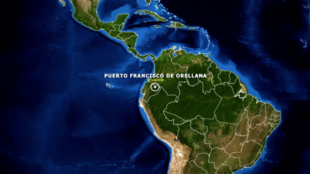 vídeos de stock, filmes e b-roll de terra de zoom no mapa - equador puerto francisco de orellana - equador latitude