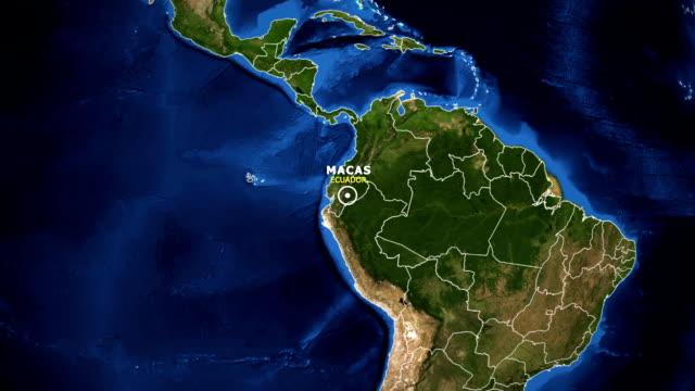 vídeos de stock, filmes e b-roll de terra de zoom no mapa - equador macas - equador latitude