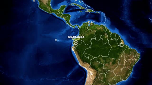 vídeos de stock, filmes e b-roll de terra de zoom no mapa - equador guaranda - equador latitude