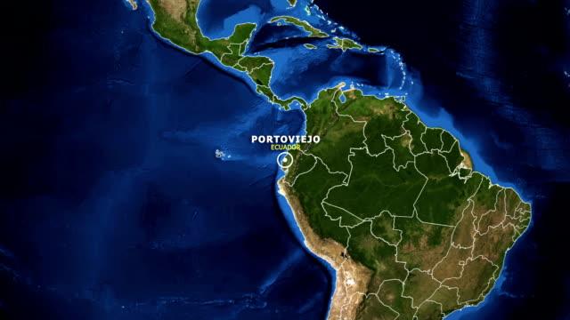 vídeos de stock, filmes e b-roll de terra de zoom no mapa - equador portoviejo - equador latitude
