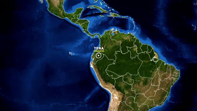 vídeos de stock, filmes e b-roll de terra de zoom no mapa - equador tena - equador latitude