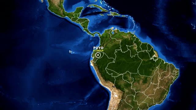 vídeos de stock, filmes e b-roll de terra de zoom no mapa - equador puyo - equador latitude