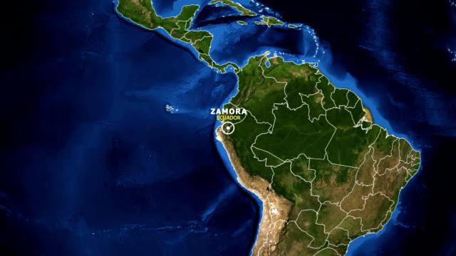 vídeos de stock, filmes e b-roll de terra de zoom no mapa - equador zamora - equador latitude