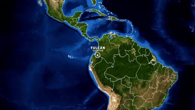 vídeos de stock, filmes e b-roll de terra de zoom no mapa - equador tulcan - equador latitude