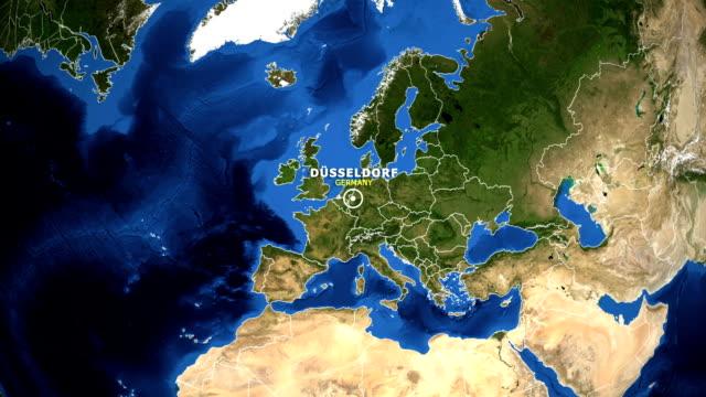 erde heranzoomen landkarte - deutschland-düsseldorf - düsseldorf stock-videos und b-roll-filmmaterial
