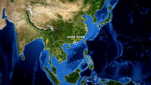 TERRA DE ZOOM NO MAPA - HONG KONG HONG KONG - vídeo