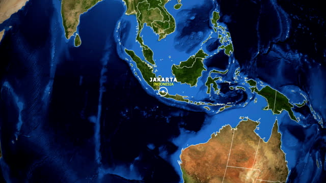 EARTH ZOOM IN MAP - INDONESIA JAKARTA INDONESIA JAKARTA ZOOM IN FROM SPACE jakarta stock videos & royalty-free footage